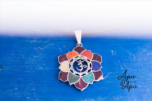 OM necklace silver and chakra colors, spiritual silver jewelr