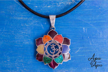 Load image into Gallery viewer, lotus flower pendant, silver with chakra colors