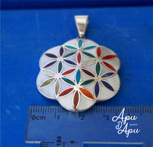 Load image into Gallery viewer, flower of life pendant silver, yoga jewelry fun, yoga necklace from Peru