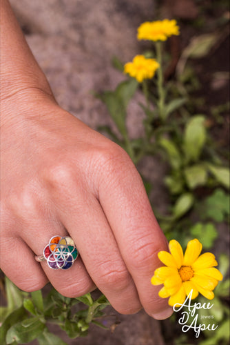 flower of life silver ring with 7 chakra colors sacred geometry