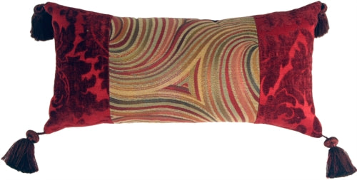 Multicolor Swirl Motif Decorative Pillow (WITH TASSELS)