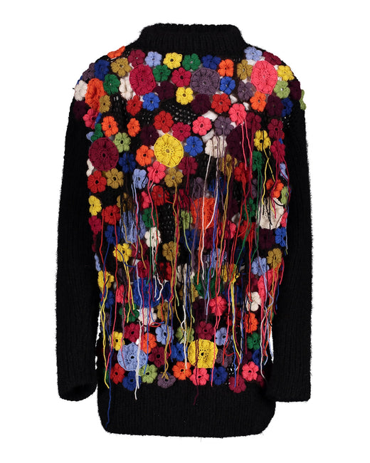 Black sweater with multicoloured backpart