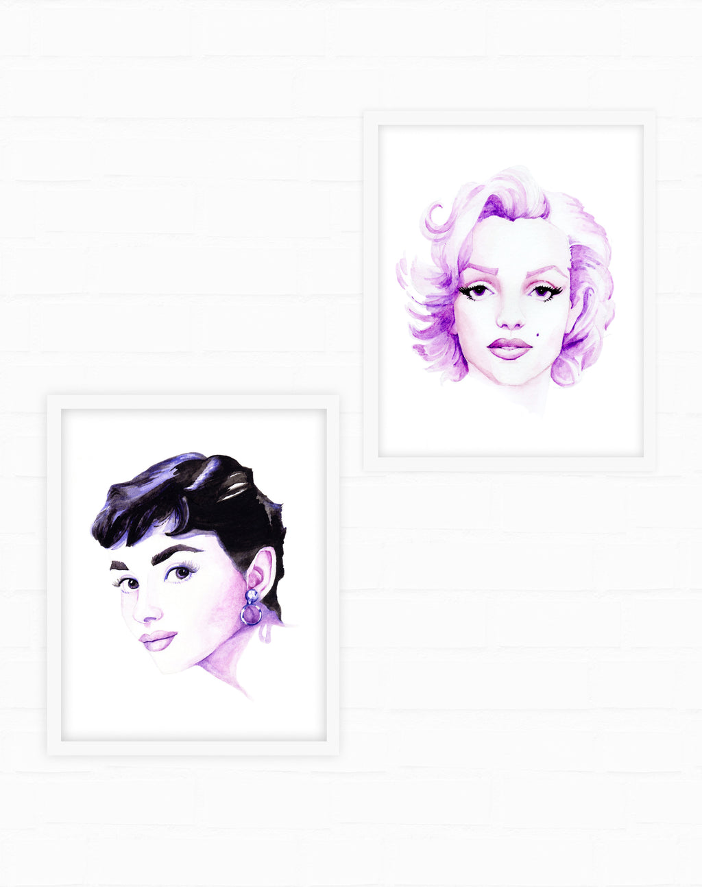 Marilyn Monroe and Audrey Hepburn Watercolor Fashion Illustration Print Set