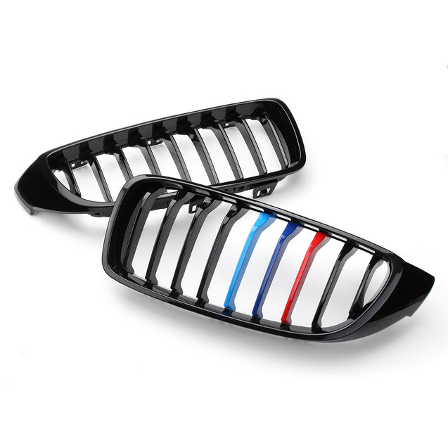 Car Pair Gloss Black Front Grilles M color Strip For BMW 4 Series F32 F33 F36 F82