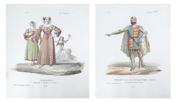 1799 Italian Courtly Clothing Design Pochoirs (Edward, King of England, A Borghese Noble Woman)