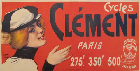 1890 Original Vintage French Cycles Clement Tires advertisement - Paris (Red Woman)