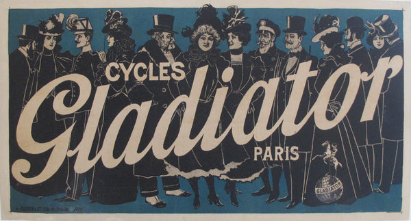 1895 Vintage French Bicycle Poster - Cycles Gladiator - Paris