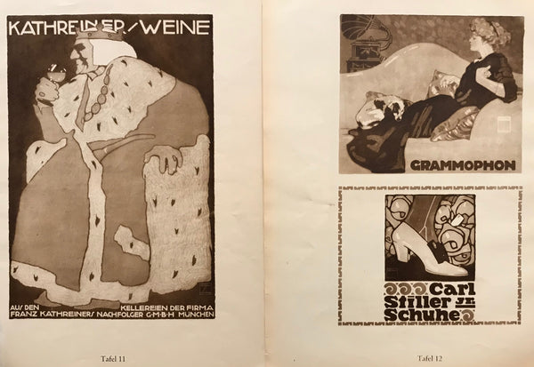 1926 Original German Double-sided Art Deco Poster, Grammophon/Carl Still Jr. Schuhe + Kathreiner Weine