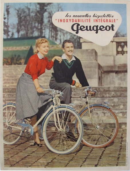 1954 Original French Bicycle Poster, Peugeot