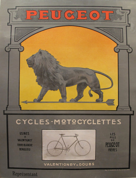1900 Original Vintage French Peugeot Cycling Poster - Lion