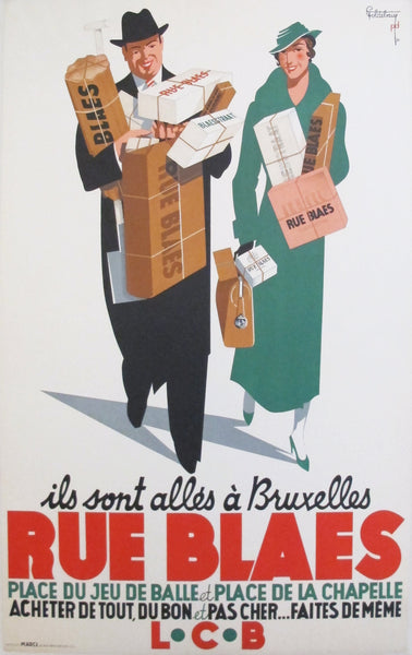 1935 Original Belgian Art Deco Poster, Rue Blaes
