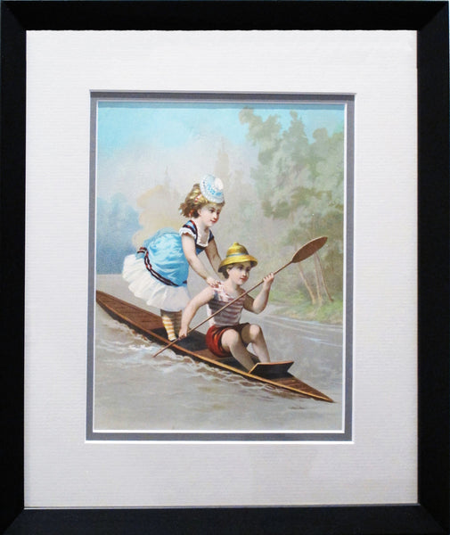 1892 Original French Advertisement, Young Couple on a Boat