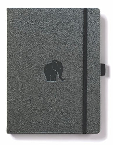 Dingbats A4+ - Wildlife Grey Elephant Notebook - Dotted