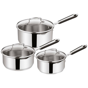 Tefal Jamie Oliver Stainless Steel 3 Piece Saucepan Set Draining Induction Ready