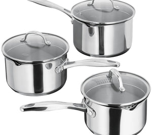 Stellar 7000 3 Piece Draining Induction Stainless Steel Saucepan Set S7A1D