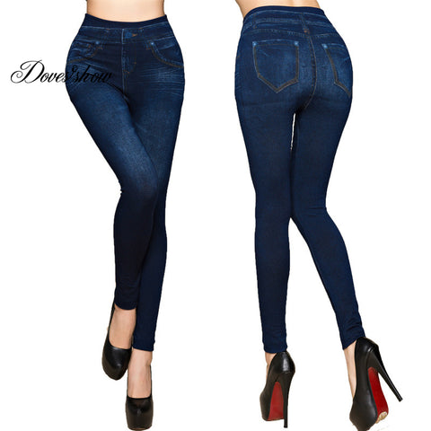 Faux Denim Jeans Leggings - dealsonbox