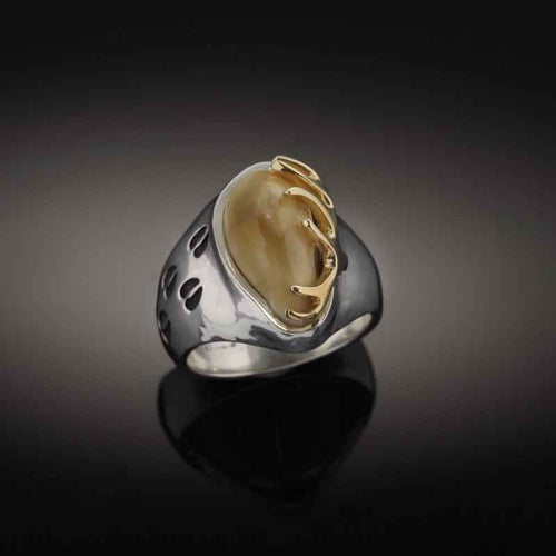 Elk Tooth Hoof Print Ring - Sterling Silver 10K YG Elk Tooth