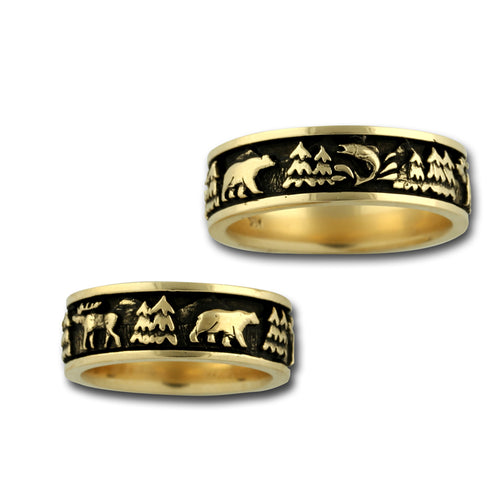 wild life ring moose bear elk fish 14k yellow gold