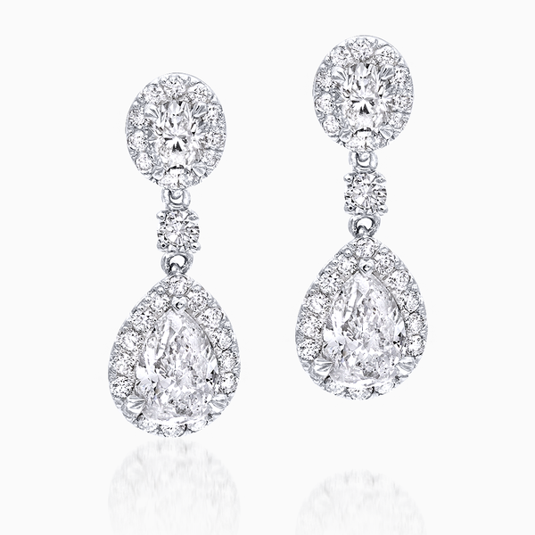 Pear Shape Diamond Drop Dangle Earrings