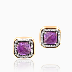 Purple Studs with Diamonds