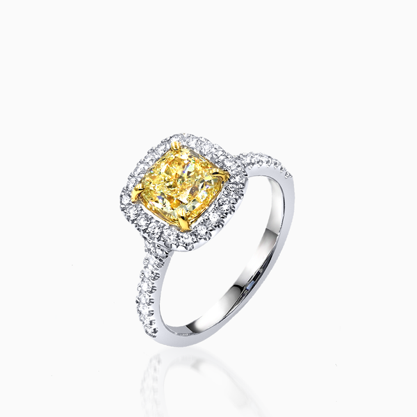 Square Yellow Diamond Ring