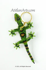 Beaded Lizard Keychain, larger dark green [Reptile]