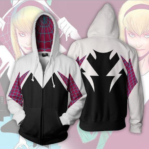 Gwen Stacy Hoodie - The Amazing Spider-Man Zip Up Hoodie CSOS540 - cosplaysos