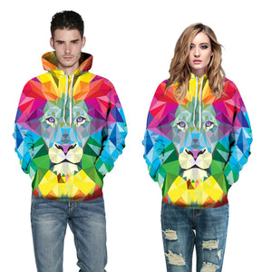 3D Print Hoodie - Colorful Lion Pattern Pullover Hoodie  CSS028 - cosplaysos