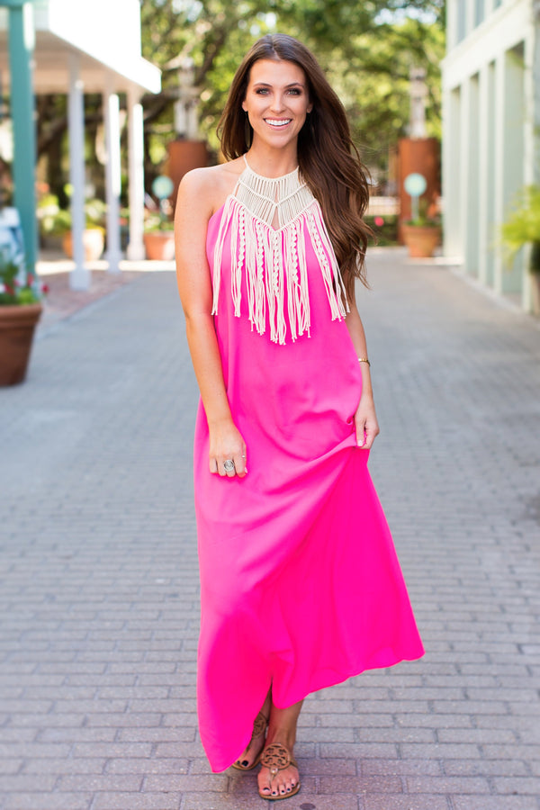 JUDITH MARCH NEON PINK HALTER MAXI DRESS W/MACRAME NECKLINE
