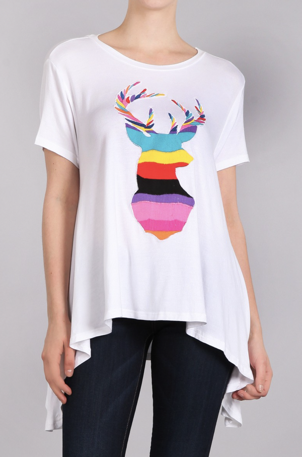 JUDITH MARCH MEX WAVE EMBROIDERED DEER FLOWY TEE