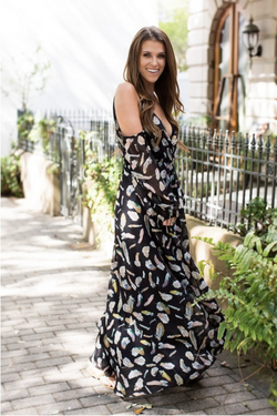 JUDITH MARCH GYPSY FEATHER MAXI DRESS