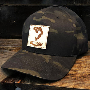 Black Multicam Leather Center Patch Hat