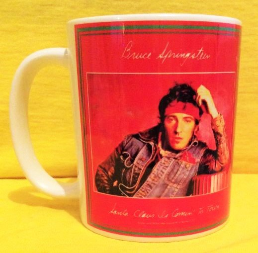 Bruce Springsteen Santa Clause is coming to town 1985 Single cover on a mug
