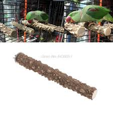 Wooden Bird Parrot Stand Holder Paw Grinding Perch Chew Pets Toys Hanging Cage  (AE)
