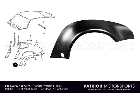FENDER FLARE / WELDING PLATE - REAR LEFT - PORSCHE 911 / 930 TURBO- BOD93050360700GRV