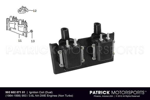 IGNITION COIL SET (DUAL) - (1994-1997) PORSCHE 993 CARRERA 3.6L DME- IGN99360207101