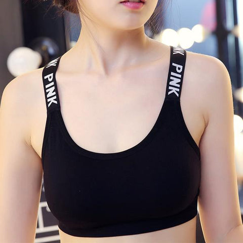 New Sports Bra Tank Top Padded Yoga Brassiere Fitness Sports in Black Front view from Almas Collections