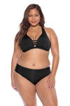 Model posing in the BECCA ETC Color Code Women's Black Bralette Bikini Top