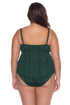 Model posing in the BECCA ETC Color Play Women's forest colored plus-sized tankini swimsuit top