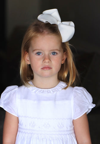 sally gates portrait picture - white handmade smocked dress