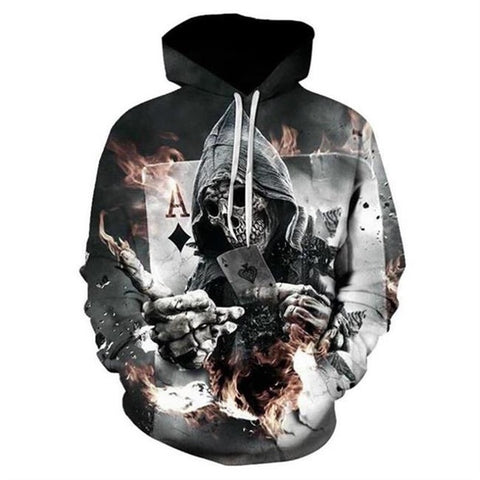 New Fashion metal Skulls Print Hooded pullover