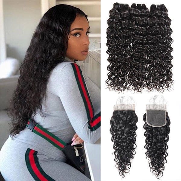 One More Brazilian Water Wave Hair 3 Bundles with 4*4 Lace Closure - OneMoreHair