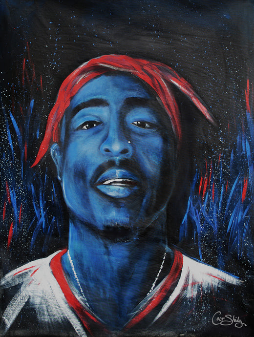 Tupac hand painted portrait art print on canvas, unframed