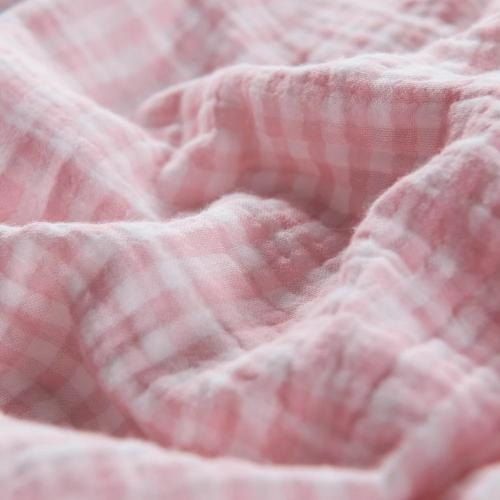 Pink Cotton Adult Muslin Gauze Throw Blanket Buffalo Check | Wholelinens