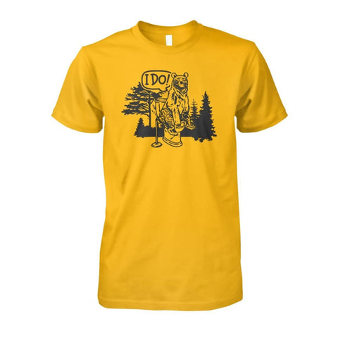 Bear In The Woods Tee - Gold / S - Short Sleeves