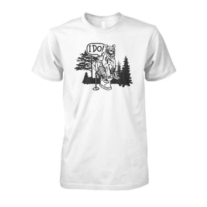 Bear In The Woods Tee - White / S - Short Sleeves