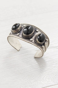 Black Stone Silver Cuff - little-lies-uk
