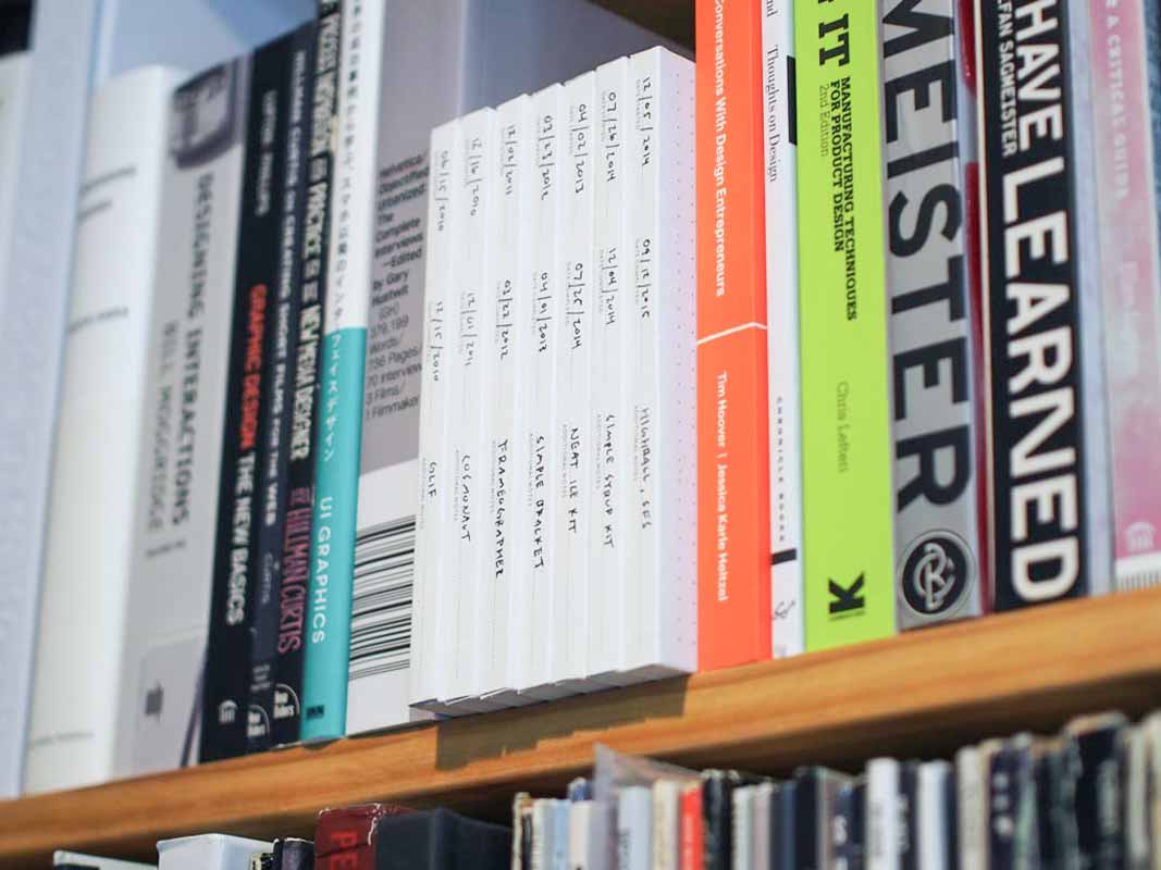 seven Panobooks lined up together on a bookshelf, each labeled with a date and description.