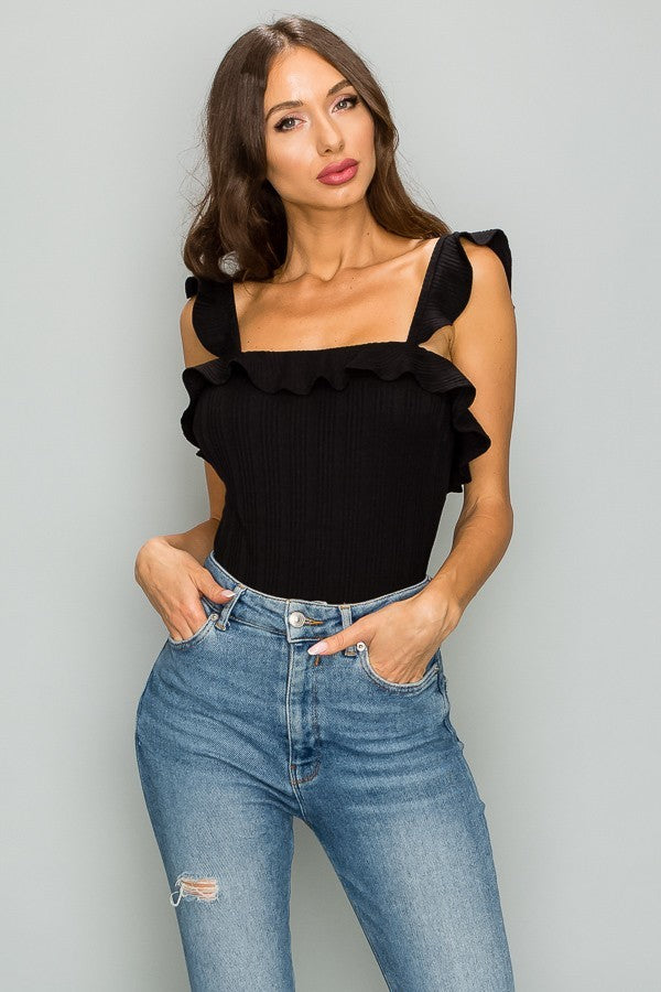 Sleeveless Ruffle Bodysuit