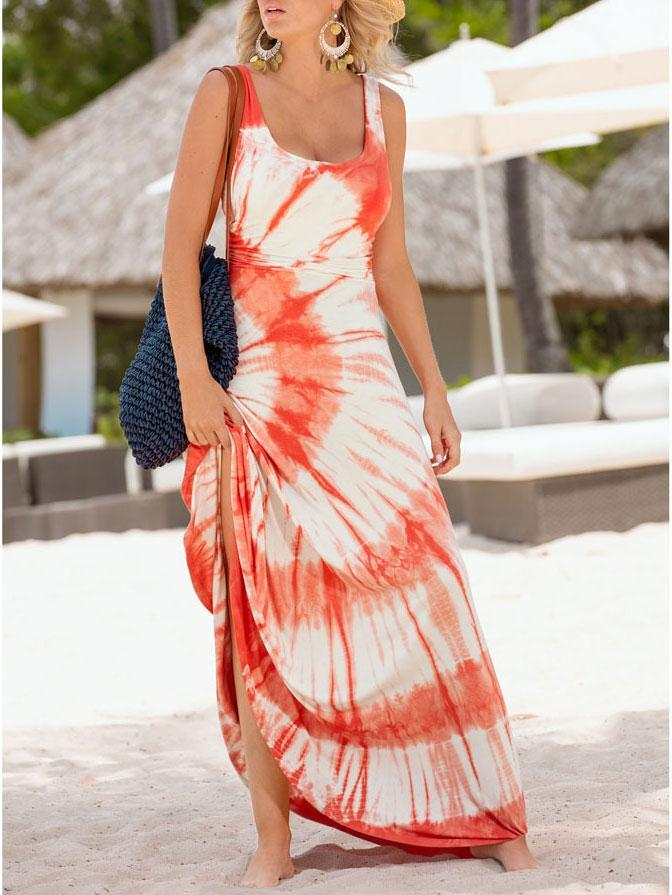 Sexy Round Collar Floral Printed Maxi Dress